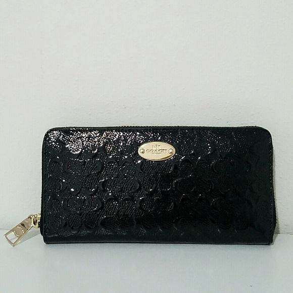 Coach Handbags - Coach Black Patent Leather Zip Wallet